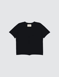 Black crewneck short sleeve tee made out of recycled bamboo with a seam down the front middle