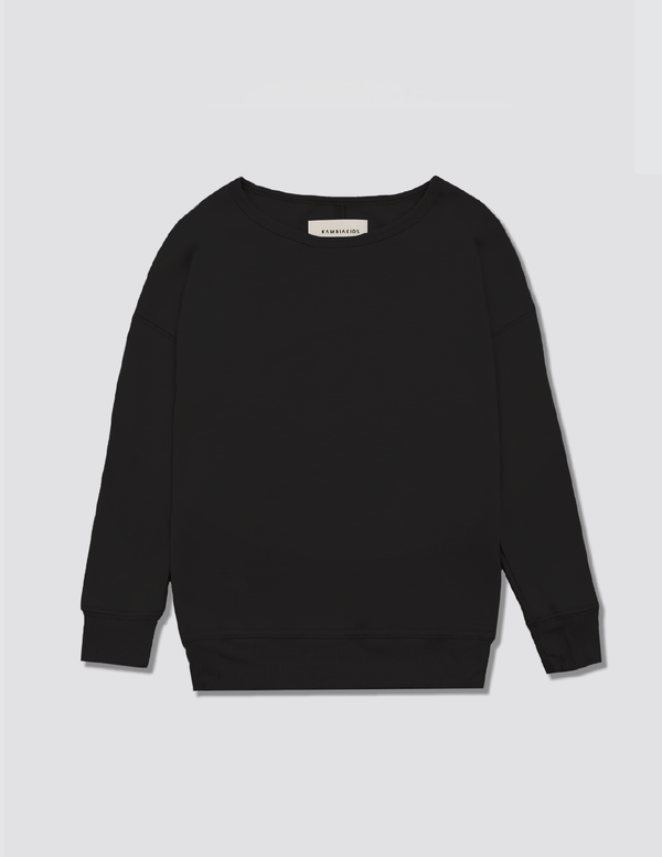 Black crewneck sweater made out of recycled cotton