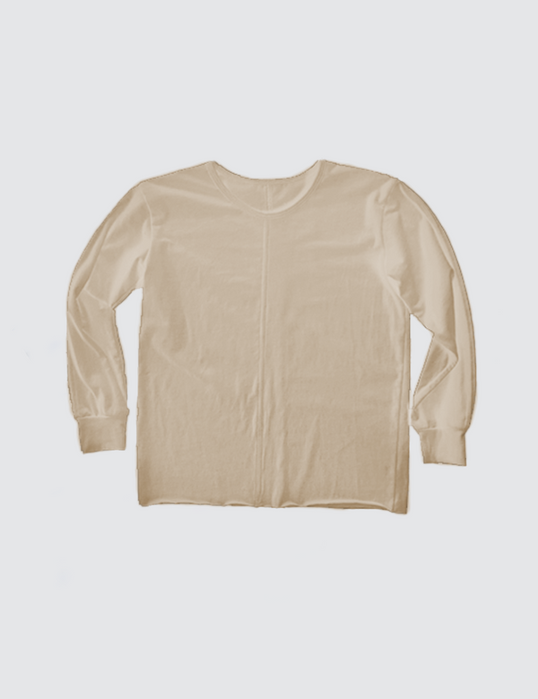 Tan crewneck long sleeve tee