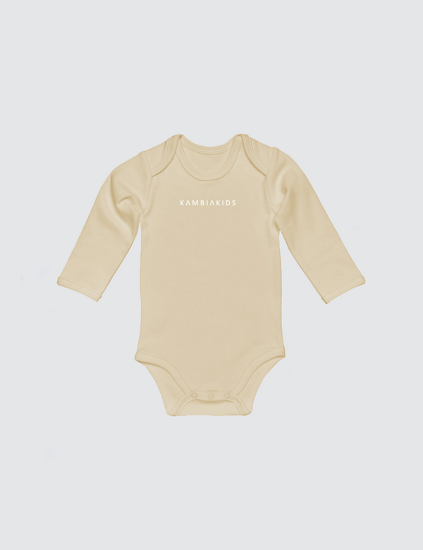 Tan onesie with three snaps at crotch with Kambia Kids logo embroidered on the front