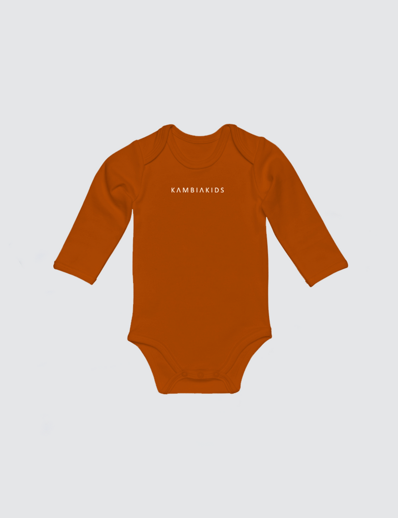 Orange onesie with three snaps at crotch with Kambia Kids logo embroidered on the front