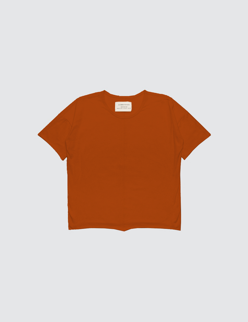 Orange crewneck short sleeve tee made out of recycled bamboo with a seam down the front middle