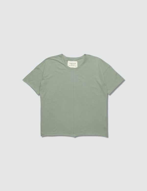 Light green crewneck short sleeve tee made out of recycled bamboo with a seam down the front middle