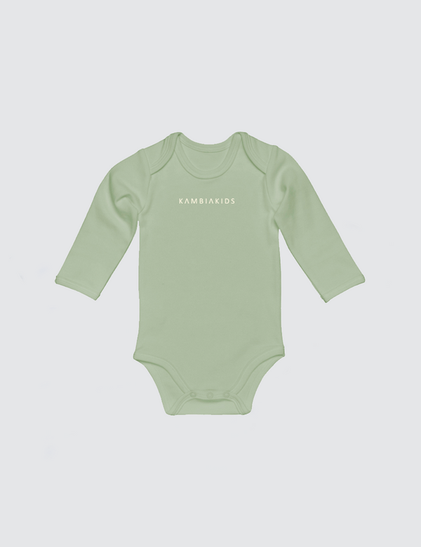 Light green onesie with three snaps at crotch with Kambia Kids logo embroidered on the front