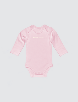 Pink onesie with three snaps at crotch with Kambia Kids logo embroidered on the front