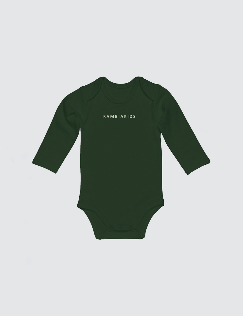 Dark forest green onesie with three snaps at crotch with Kambia Kids logo embroidered on the front