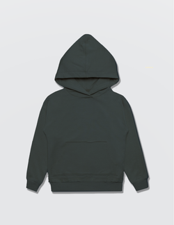 Charcoal grey hoodie made out of recycled cotton with the Kambia Kids logo embroidered on the back