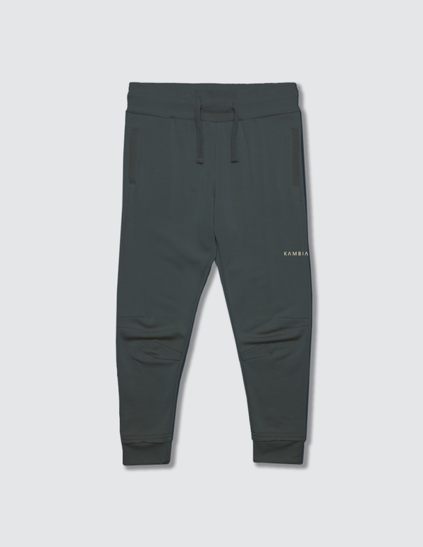 Charcoal grey sweatpant made out of recycled cotton with two darts on the front of the knee with a non functional drawstring for kids safety