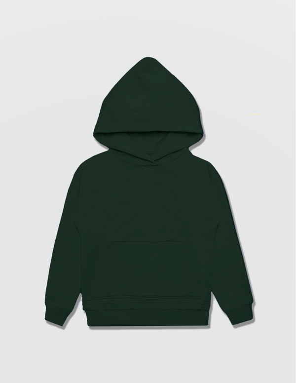 Dark forest green hoodie made out of recycled cotton with the Kambia Kids logo embroidered on the back