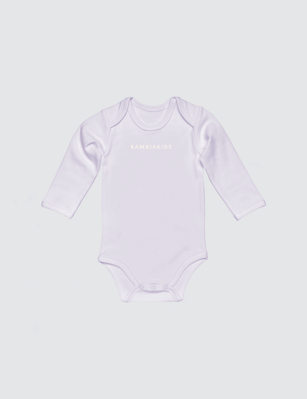 Lilac onesie with three snaps at crotch with Kambia Kids logo embroidered on the front