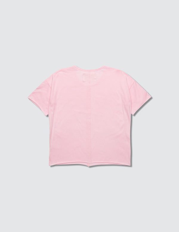 Pink crewneck short sleeve tee made out of recycled bamboo with a seam down the front middle