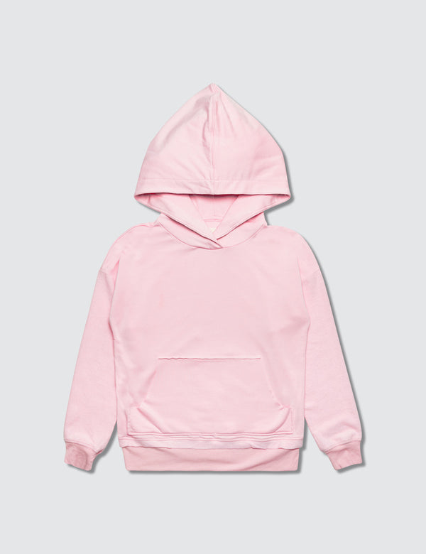 Pink hoodie made out of recycled bamboo with the Kambia Kids logo embroidered on the back