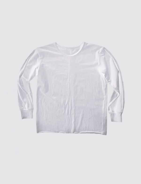 White crewneck long sleeve tee