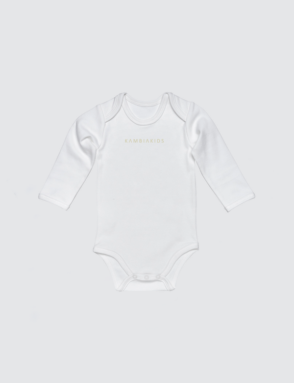 White onesie with three snaps at crotch with Kambia Kids logo embroidered on the front