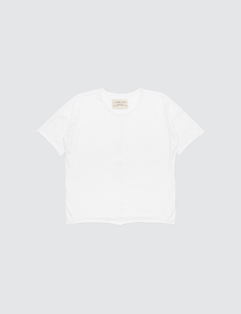White crewneck short sleeve tee made out of recycled bamboo with a seam down the front middle