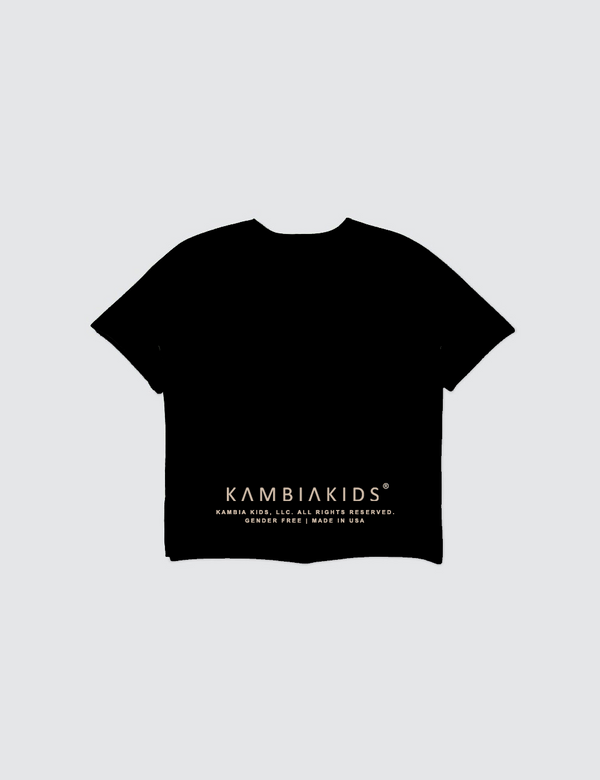 A black short sleeve crewneck tee with the words Kambia Kids logo printed on the back at the bottom..