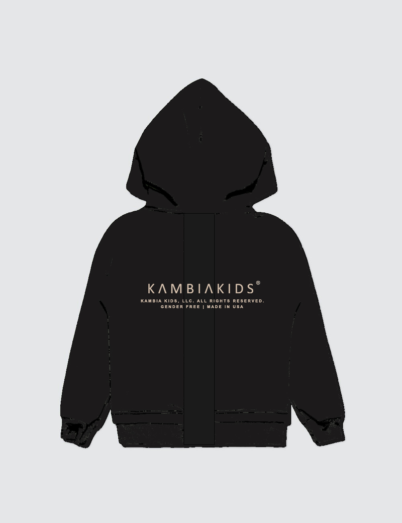 A black hoodie made from recycled cotton with the Kambia Kids Logo on the back.