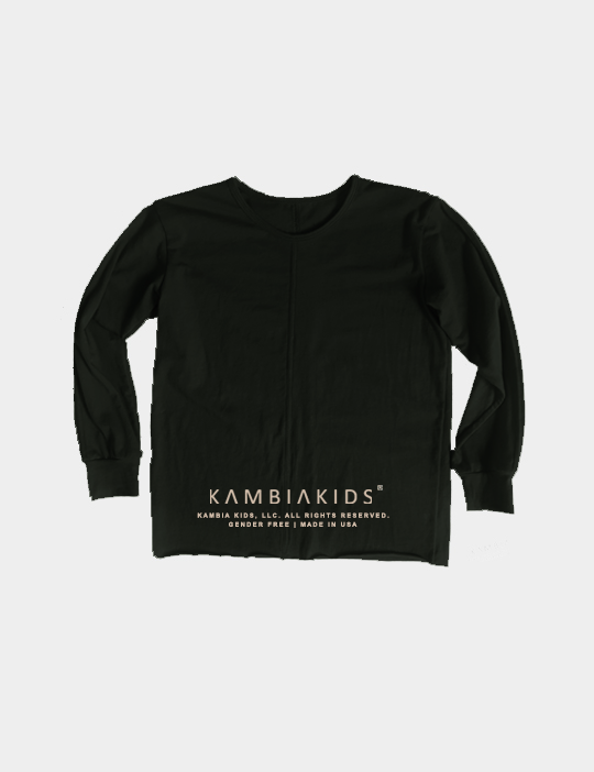 Black crewneck long sleeve with the Kambia Kids logo on the back at the bottom.