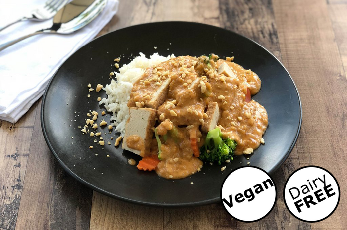Vegan Tofu with Peanut Sauce on Rice