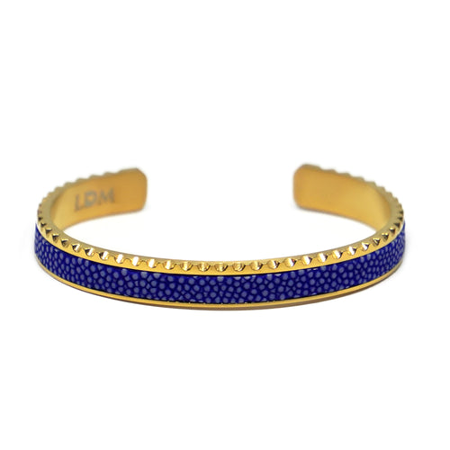 Stingray Leather Cuff Bracelet - Blue Gold