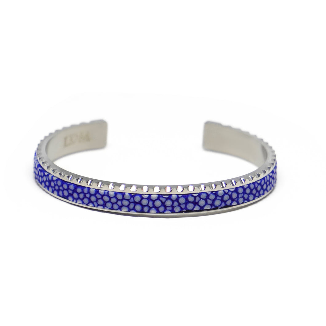 Stingray Leather Cuff Bracelet - Blue Silver