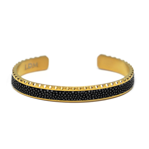 Stingray Leather Cuff Bracelet - Black Gold