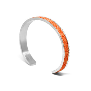 Stingray Leather Cuff Bracelet - Orange Silver