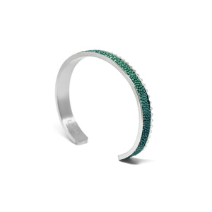 Stingray Leather Cuff Bracelet - Green Silver