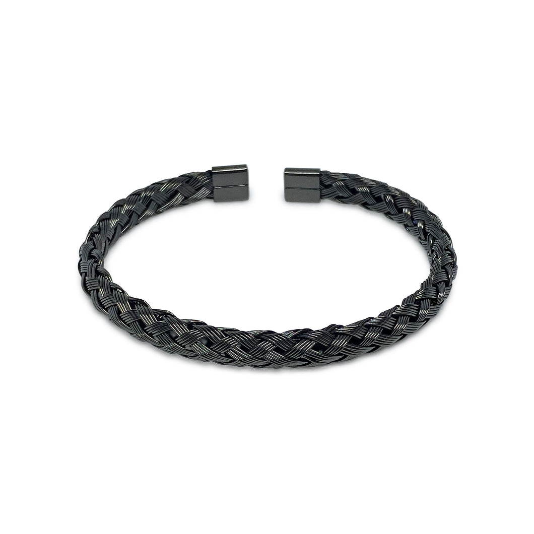 Woven Black Bangle Bracelet