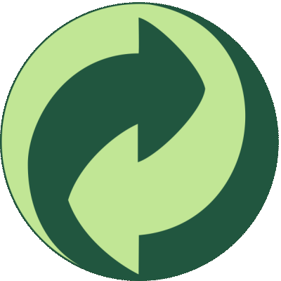 "The Green Dot (""Der Gruene Punkt"") means we contribute to the cost of recovery and recycling of our sheets."