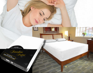 Lady in bed on stretch sheet in color 21-White, bed with deep mattress with Jersey knit stretch sheet in color 21-White