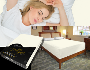 Lady in bed on stretch sheet in color 22-Cream, bed with deep mattress with Jersey knit stretch sheet in color 22-Cream