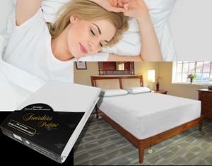 Lady in bed on stretch sheet in color 29-Silver, bed with deep mattress with Jersey knit stretch sheet in color 29-Silver