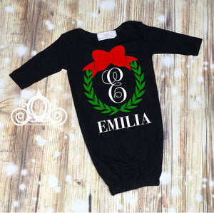 Wreath Monogram Christmas Baby Gown Layette