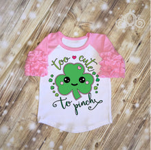 Girls  Too Cute to Pinch St Patty's Day Shirt