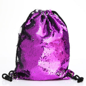 Silver & Purple Reversible Sequin Drawstring Bag by Pillow Blingz