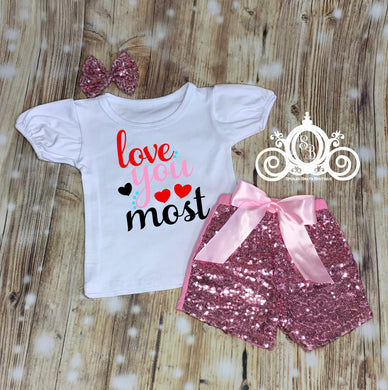 Love You Valentines Short Set