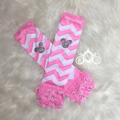 Minnie Lt Pink & White Chevron Leg Warmers