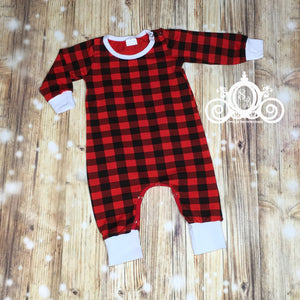 Unisex Personalized Buffalo Plaid Christmas Romper