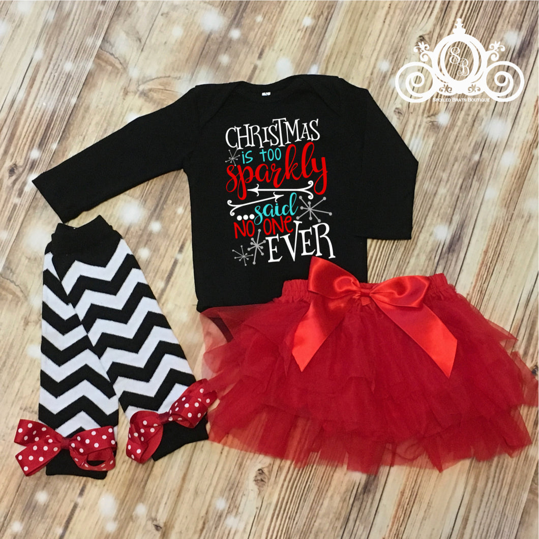 Christmas is Too Sparkly Black Onesie Tutu Set