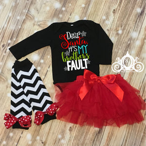 Dear Santa, It's My Brothers/Sisters Fault Black Onesie Tutu Set