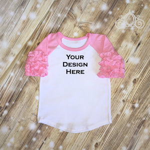 CUSTOMIZE ME! Light Pink Icing Ruffle Raglan