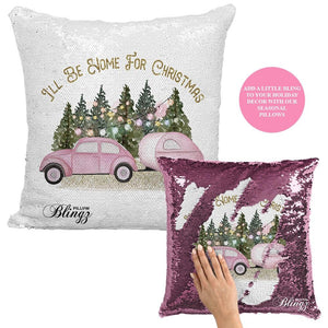 I'll Be Home for Christmas Reversible Sequin Pillow Case