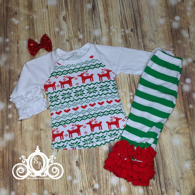 Girls Reindeer Ruffle Christmas Set