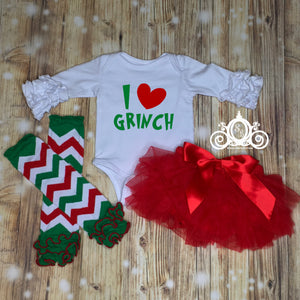 I Love Grinch Onesie Tutu Set