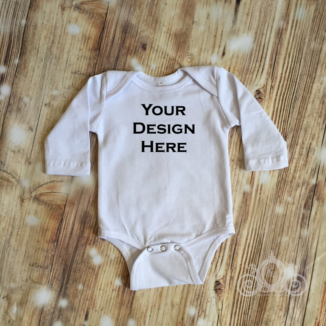 CUSTOMIZE ME! White Long Sleeve Baby Onesie