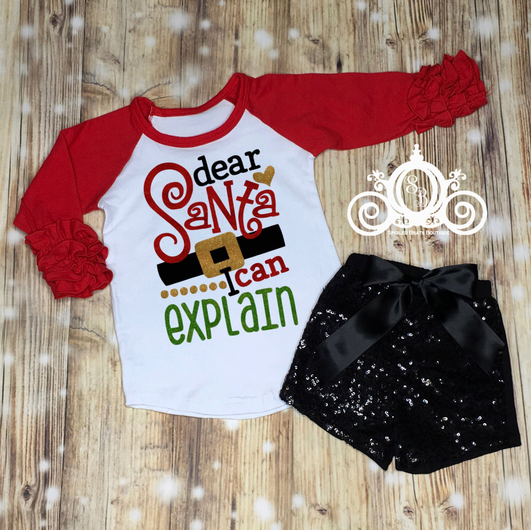 Dear Santa, I Can Explain Ruffle Christmas Set