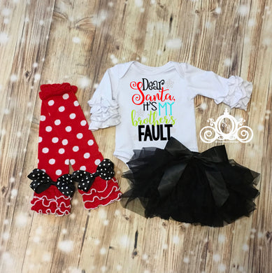 Dear Santa, It's My Brothers/Sisters Fault White Onesie Tutu Set
