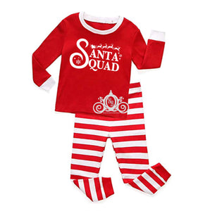 Santa Squad Striped Matching Family Christmas Pajamas