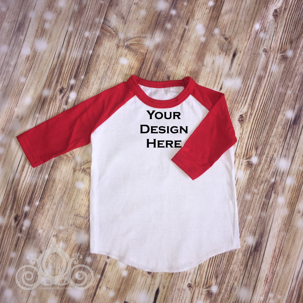CUSTOMIZE ME! Red Unisex Raglan